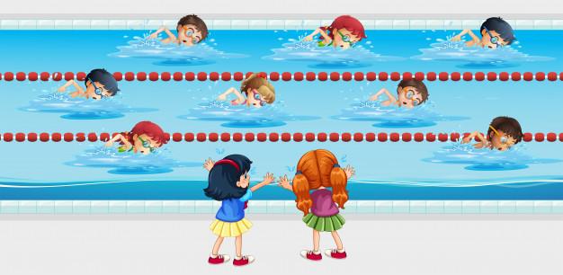 Kids practise swimming